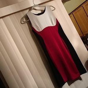 NWT RN studio white/red/black stretchable dress